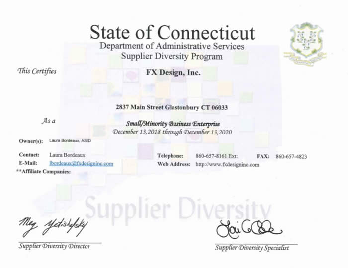 State of CT DAS Supplier Diversity Small Minority Business Enterprise Certificate