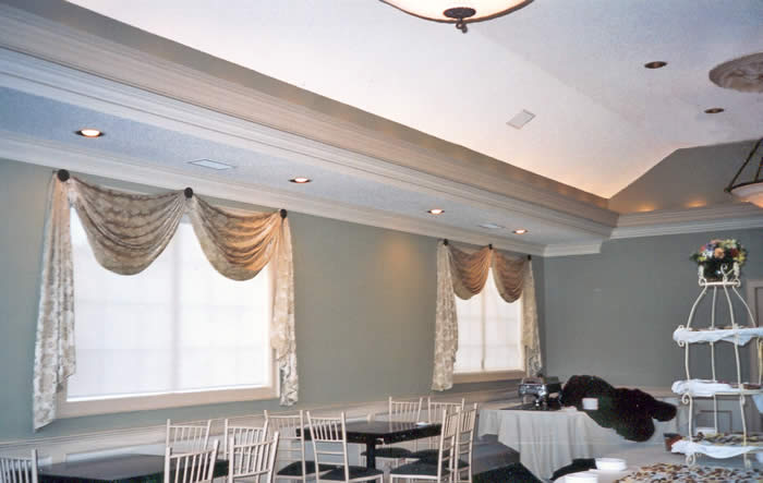window treatments in banquet facility