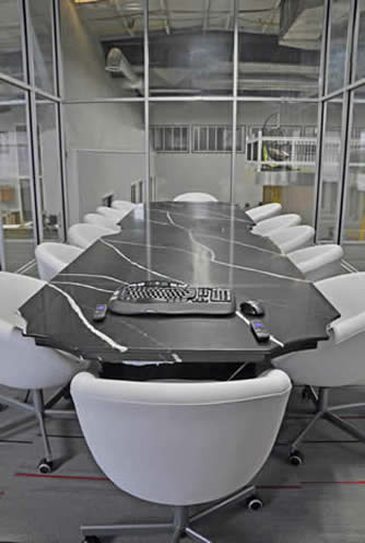 black and white conference room