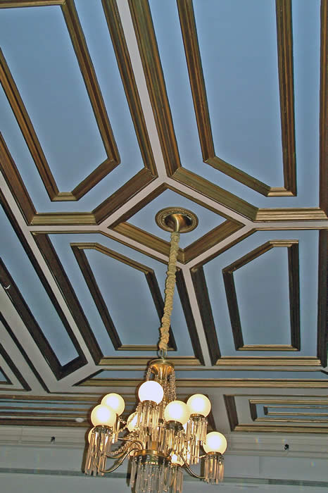 dining room ceiling & chandeliers