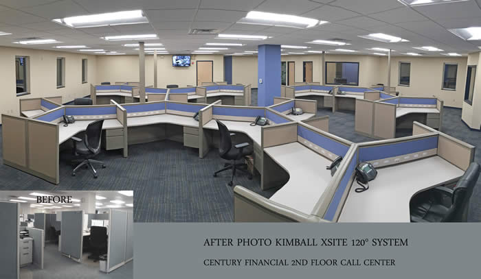 Century Financial call center 120 degree layout workstations