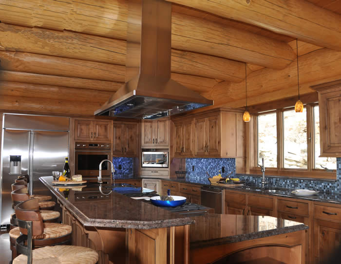 log home kitchen with blue and gray hues