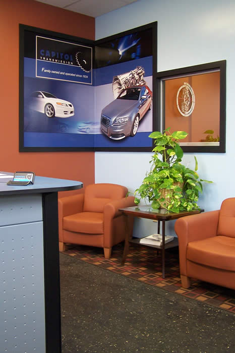 waiting area in car transmission service center
