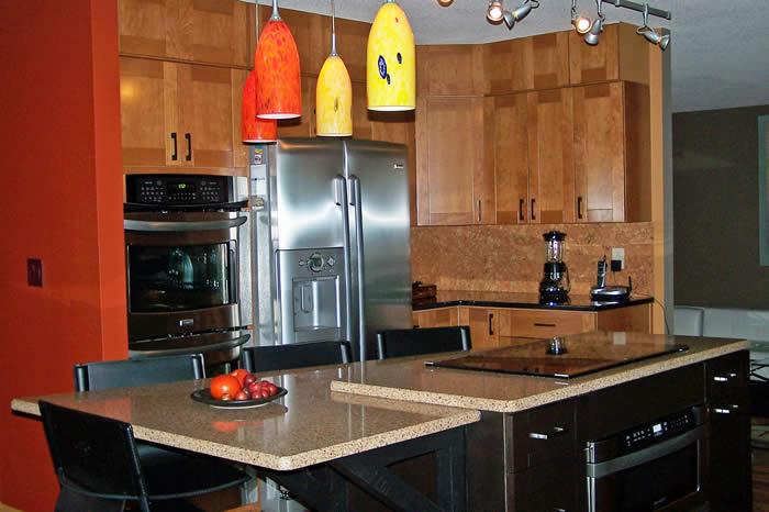 Multi level counter kitchen island