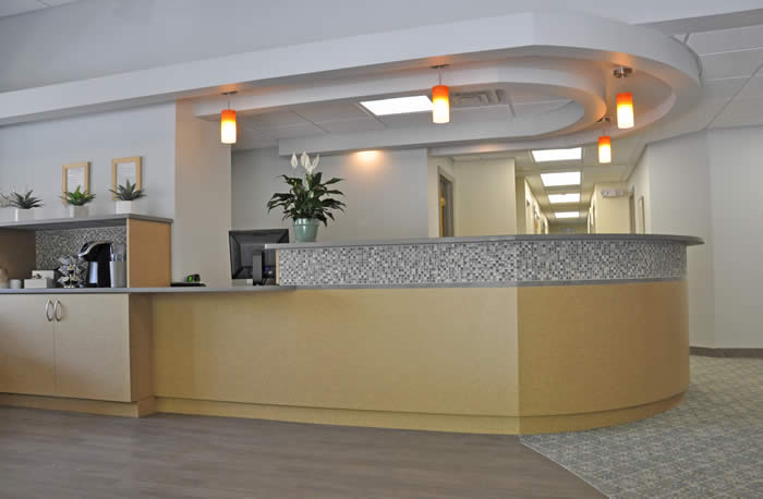 Dr Campbell Dental office custom check-in and beverage bar area