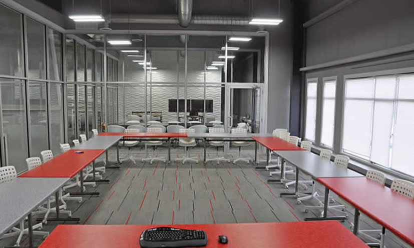 red and gray conference room