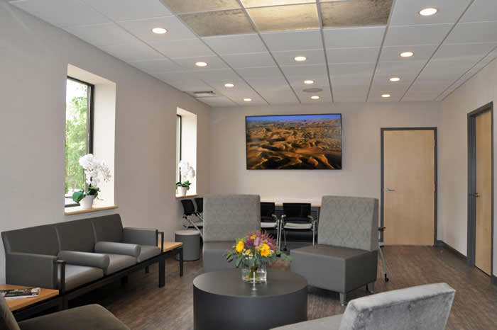 West Hartford Implant Dentistry Waiting and Training room with plush seating