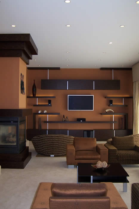 custom designed TV entertainment wall of display shelving