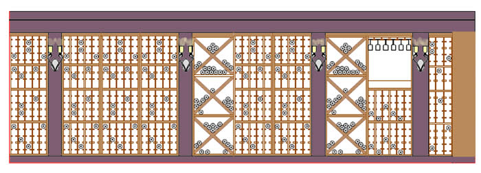 Wine Cellar elevation detail with wine racks and display areas