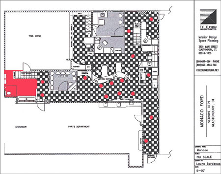 Monaco Ford Service and Parts Dept. Floor Plan
